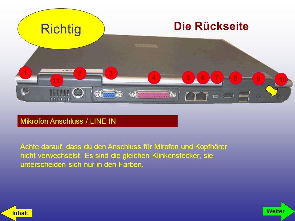 Die Rückseite Mikrofon Anschluss / LINE IN Richtig Weiter Achte darauf, dass du den Anschluss für Mirofon und Kopfhörer nicht verwechselst. Es sind di