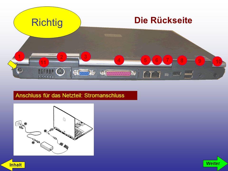 Die Rückseite Anschluss für das Netzteil: Stromanschluss Richtig Weiter Inhalt