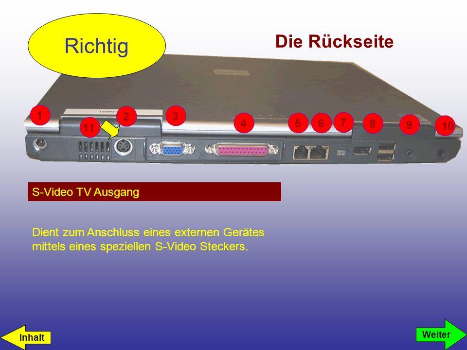 Die Rückseite S-Video TV Ausgang Richtig Dient zum Anschluss eines externen Gerätes mittels eines speziellen S-Video Steckers. Weiter Inhalt