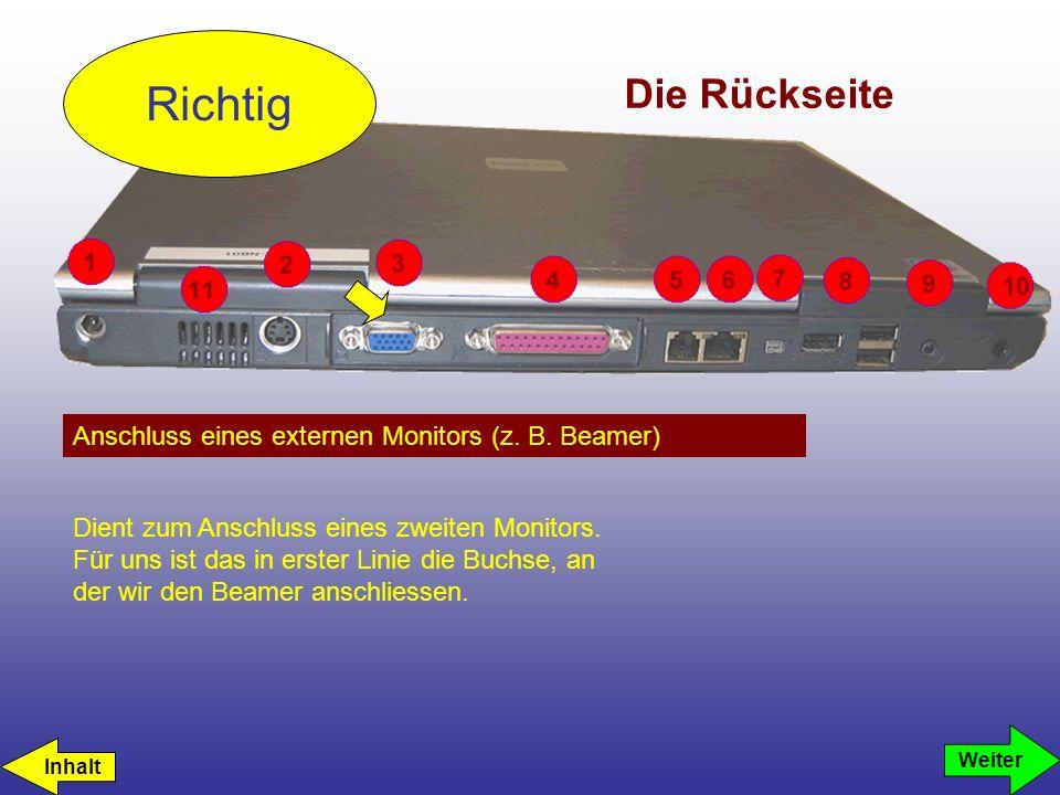 Die Rückseite Anschluss eines externen Monitors (z. B. Beamer) Richtig Weiter Dient zum Anschluss eines zweiten Monitors. Für uns ist das in erster Li