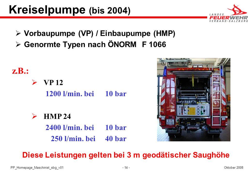 - 14 -Oktober 2008PP_Homepage_Maschinist_sbg_v01 Kreiselpumpe (bis 2004) Vorbaupumpe (VP) / Einbaupumpe (HMP) Genormte Typen nach ÖNORM F 1066 z.B.: V