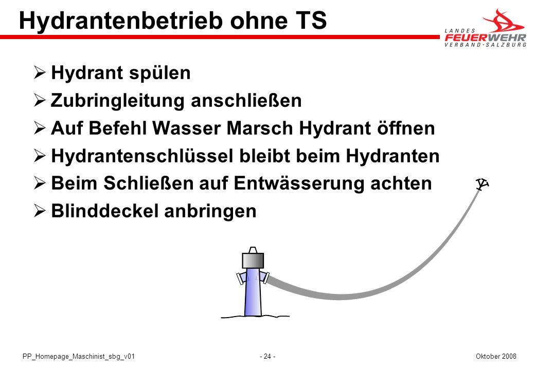 - 24 -Oktober 2008PP_Homepage_Maschinist_sbg_v01 Hydrantenbetrieb ohne TS Hydrant spülen Zubringleitung anschließen Auf Befehl Wasser Marsch Hydrant ö