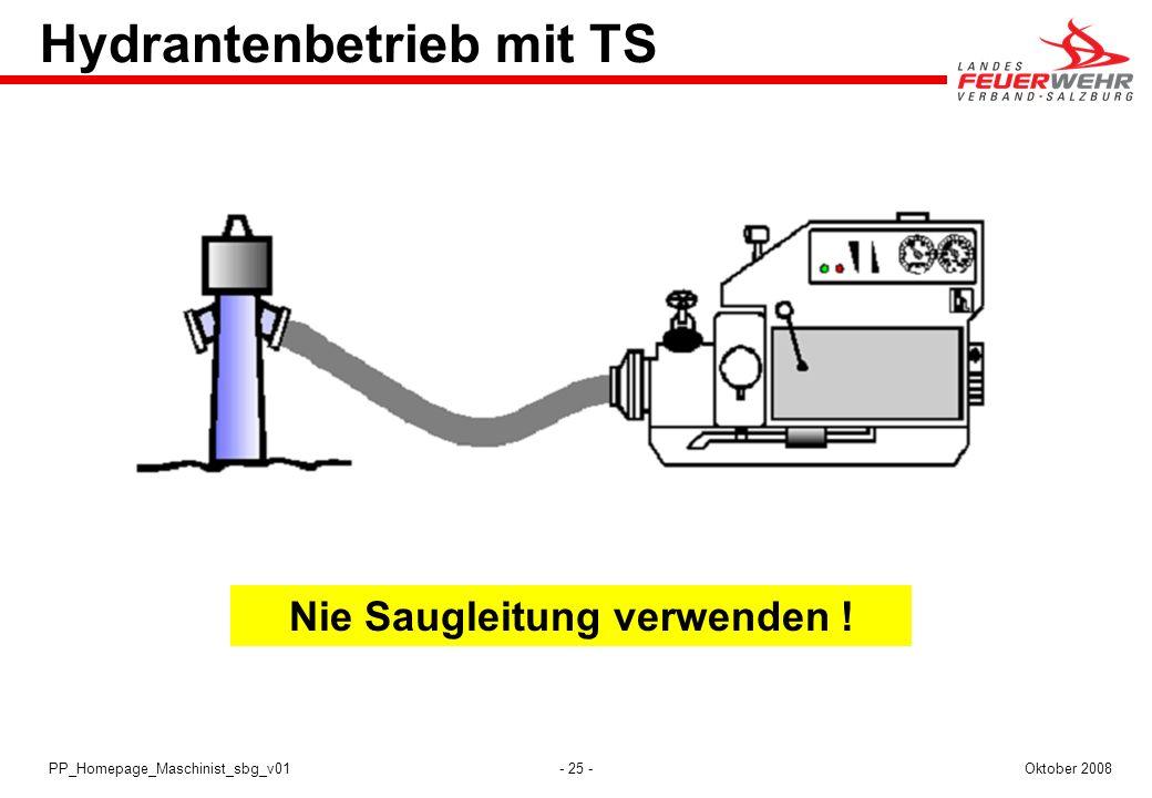 - 25 -Oktober 2008PP_Homepage_Maschinist_sbg_v01 Hydrantenbetrieb mit TS Nie Saugleitung verwenden !
