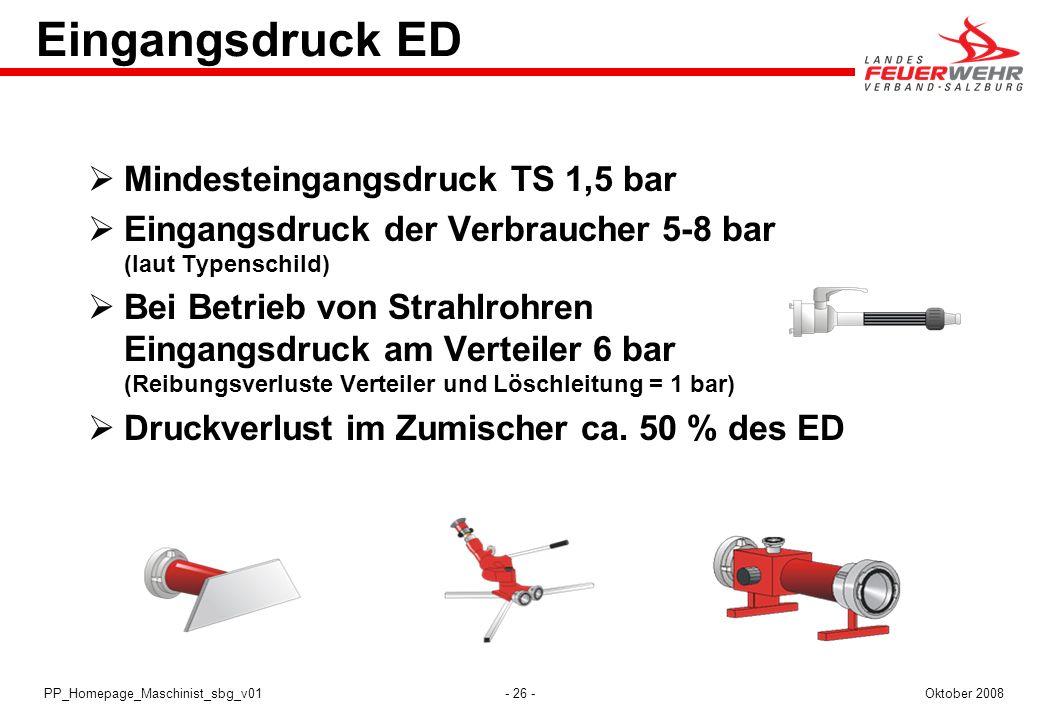 - 26 -Oktober 2008PP_Homepage_Maschinist_sbg_v01 Eingangsdruck ED Mindesteingangsdruck TS 1,5 bar Eingangsdruck der Verbraucher 5-8 bar (laut Typensch