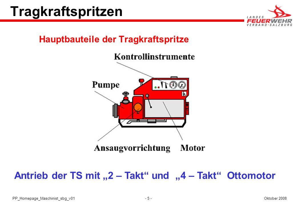 - 5 -Oktober 2008PP_Homepage_Maschinist_sbg_v01 Tragkraftspritzen Hauptbauteile der Tragkraftspritze Antrieb der TS mit 2 – Takt und 4 – Takt Ottomoto