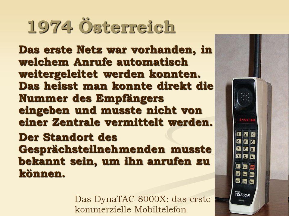 1974 Österreich Das erste Netz war vorhanden, in welchem Anrufe automatisch weitergeleitet werden konnten. Das heisst man konnte direkt die Nummer des
