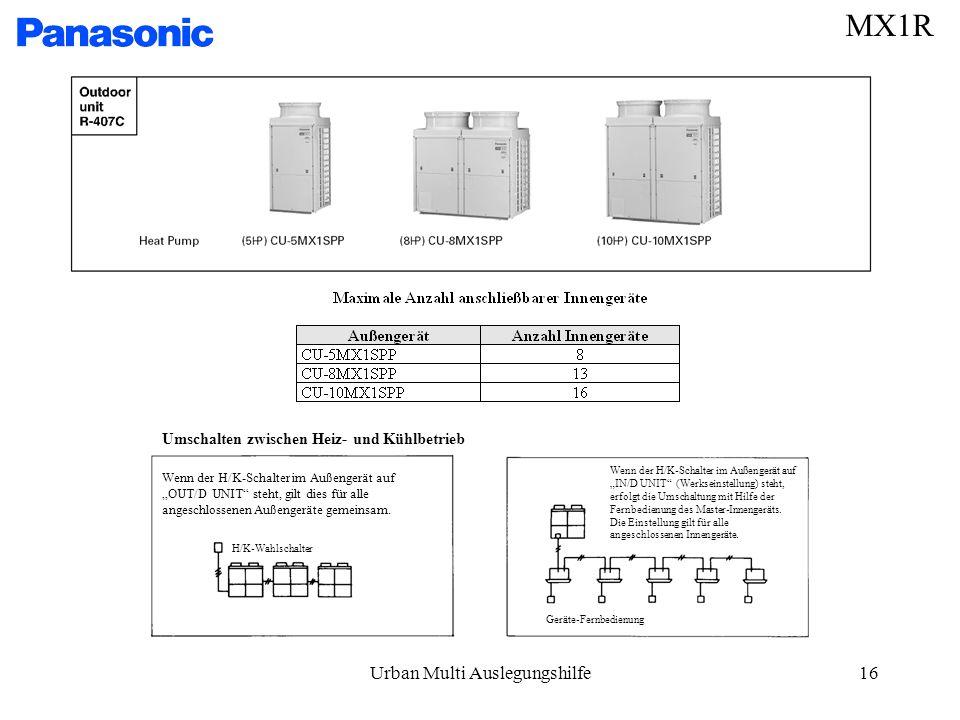 Urban Multi Auslegungshilfe16 MX1R Umschalten zwischen Heiz- und Kühlbetrieb H/K-Wahlschalter Geräte-Fernbedienung Wenn der H/K-Schalter im Außengerät auf OUT/D UNIT steht, gilt dies für alle angeschlossenen Außengeräte gemeinsam.