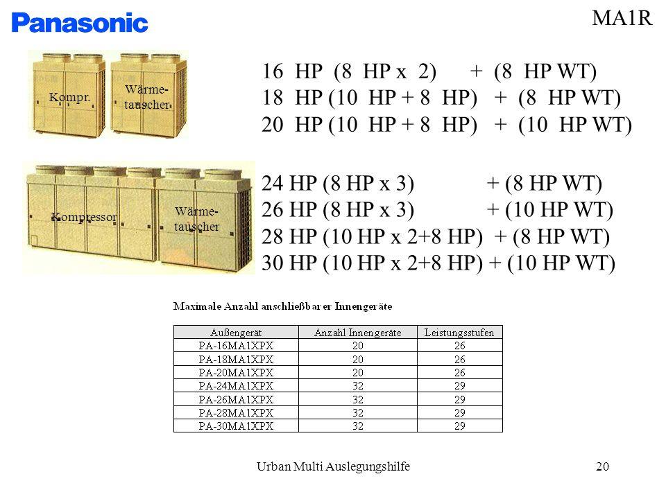 Urban Multi Auslegungshilfe20 16 HP (8 HP x 2) + (8 HP WT) 18 HP (10 HP + 8 HP) + (8 HP WT) 20 HP (10 HP + 8 HP) + (10 HP WT) 24 HP (8 HP x 3) + (8 HP WT) 26 HP (8 HP x 3) + (10 HP WT) 28 HP (10 HP x 2+8 HP) + (8 HP WT) 30 HP (10 HP x 2+8 HP) + (10 HP WT) Wärme- tauscher Wärme- tauscher Kompr.