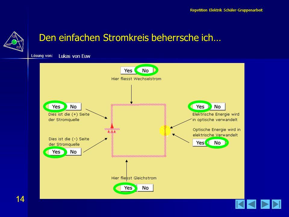 14 Lösung von: Repetition Elektrik Schüler-Gruppenarbeit Den einfachen Stromkreis beherrsche ich… Lukas von Euw