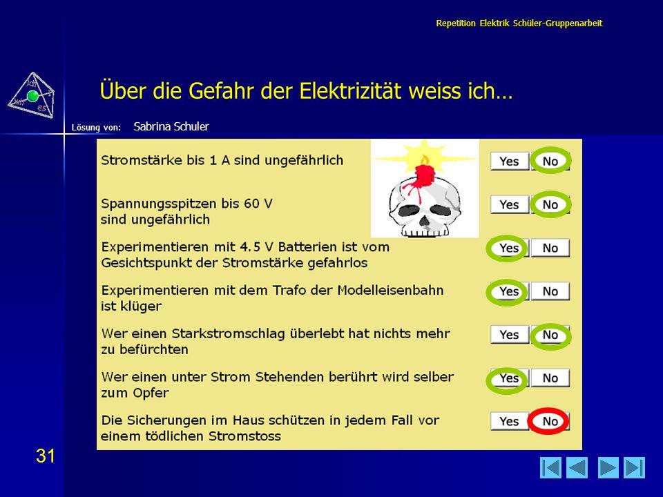 31 Lösung von: Repetition Elektrik Schüler-Gruppenarbeit Über die Gefahr der Elektrizität weiss ich… Sabrina Schuler