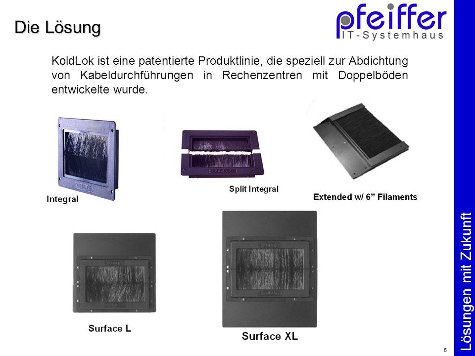 Lösungen mit Zukunft 5 Die Lösung KoldLok ist eine patentierte Produktlinie, die speziell zur Abdichtung von Kabeldurchführungen in Rechenzentren mit Doppelböden entwickelte wurde.