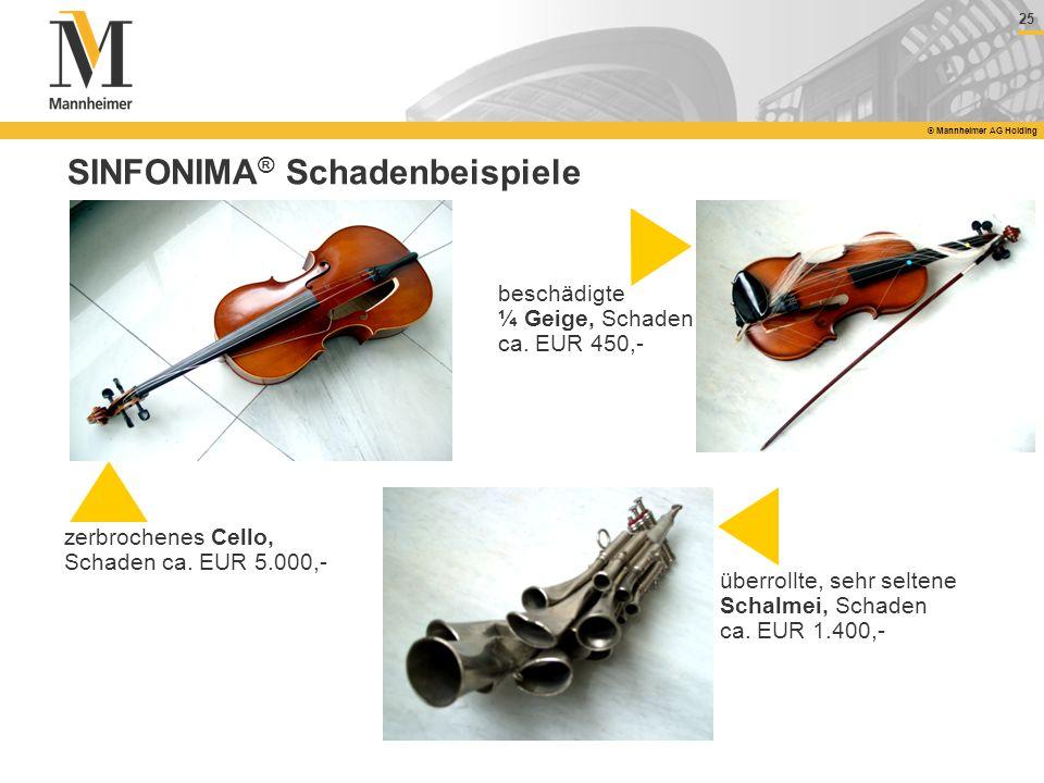 25 © Mannheimer AG Holding SINFONIMA ® Schadenbeispiele zerbrochenes Cello, Schaden ca. EUR 5.000,- beschädigte ¼ Geige, Schaden ca. EUR 450,- überrol