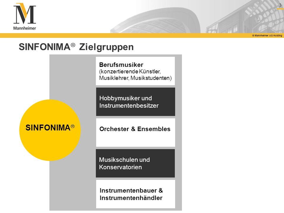 3 © Mannheimer AG Holding SINFONIMA Zielgruppen SINFONIMA Orchester & Ensembles Musikschulen und Konservatorien Berufsmusiker (konzertierende Künstler