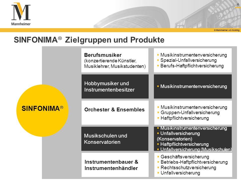 4 © Mannheimer AG Holding SINFONIMA Zielgruppen und Produkte Orchester & Ensembles Musikschulen und Konservatorien Berufsmusiker (konzertierende Künst