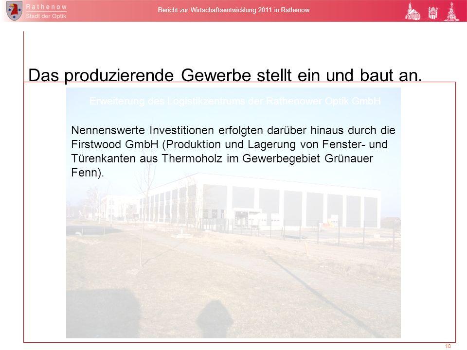 10 Bericht zur Wirtschaftsentwicklung 2011 in Rathenow Nennenswerte Investitionen erfolgten darüber hinaus durch die Firstwood GmbH (Produktion und La