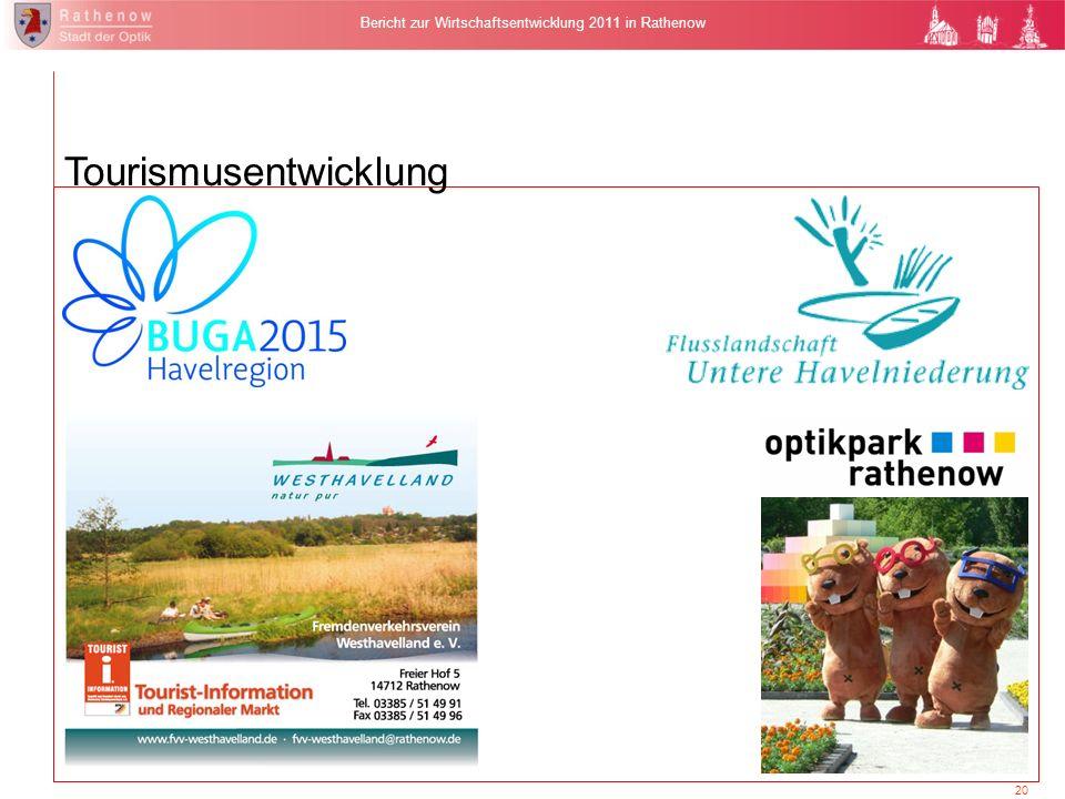 20 Bericht zur Wirtschaftsentwicklung 2011 in Rathenow Tourismusentwicklung