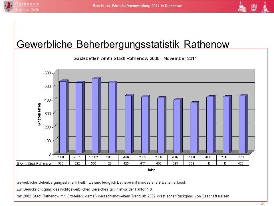 24 Bericht zur Wirtschaftsentwicklung 2011 in Rathenow Gewerbliche Beherbergungsstatistik Rathenow Gewerbliche Beherbergungsstatistik heißt: Es sind l