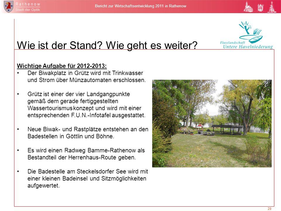 29 Bericht zur Wirtschaftsentwicklung 2011 in Rathenow Wie ist der Stand? Wie geht es weiter? Wichtige Aufgabe für 2012-2013: Der Biwakplatz in Grütz