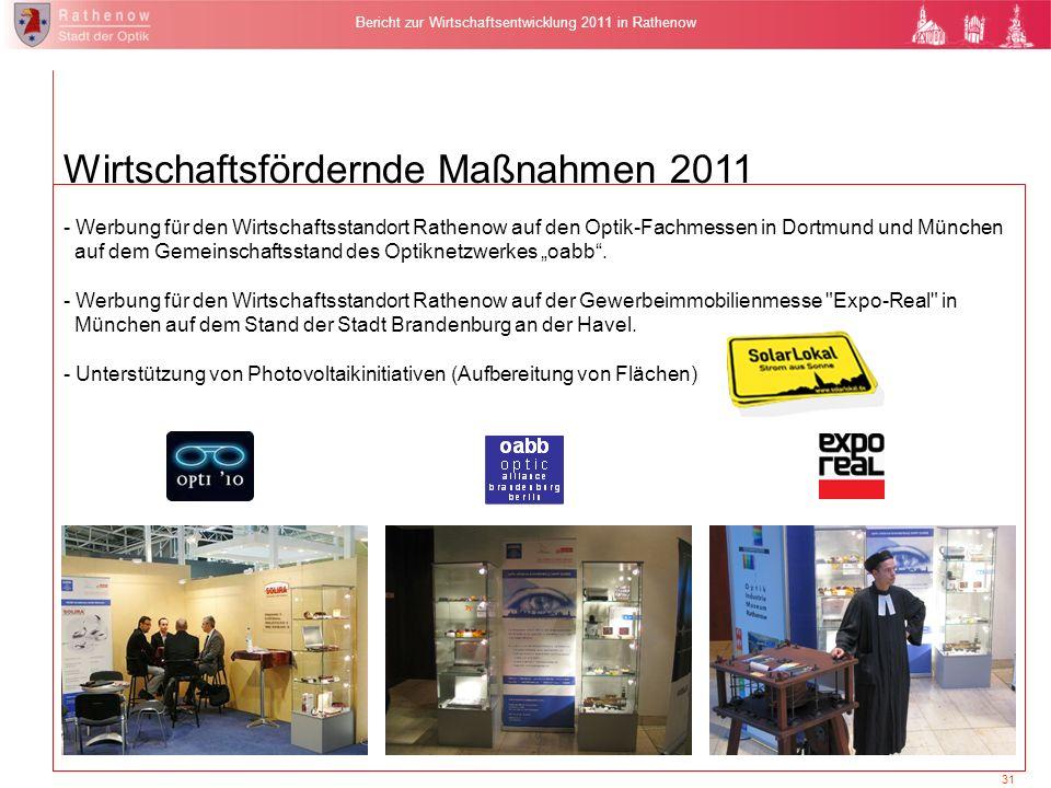 31 Bericht zur Wirtschaftsentwicklung 2011 in Rathenow - Werbung für den Wirtschaftsstandort Rathenow auf den Optik-Fachmessen in Dortmund und München