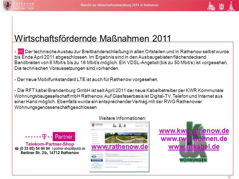 32 Bericht zur Wirtschaftsentwicklung 2011 in Rathenow - Der technische Ausbau zur Breitbanderschließung in allen Ortsteilen und in Rathenow selbst wu