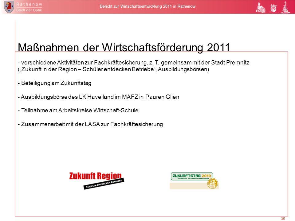 35 Bericht zur Wirtschaftsentwicklung 2011 in Rathenow Maßnahmen der Wirtschaftsförderung 2011 - verschiedene Aktivitäten zur Fachkräftesicherung, z.