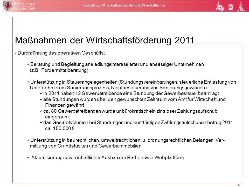37 Bericht zur Wirtschaftsentwicklung 2011 in Rathenow Maßnahmen der Wirtschaftsförderung 2011 - Durchführung des operativen Geschäfts: Beratung und B