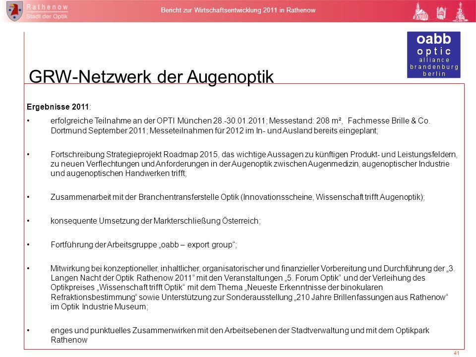 41 Bericht zur Wirtschaftsentwicklung 2011 in Rathenow Ergebnisse 2011: erfolgreiche Teilnahme an der OPTI München 28.-30.01.2011; Messestand: 208 m²,