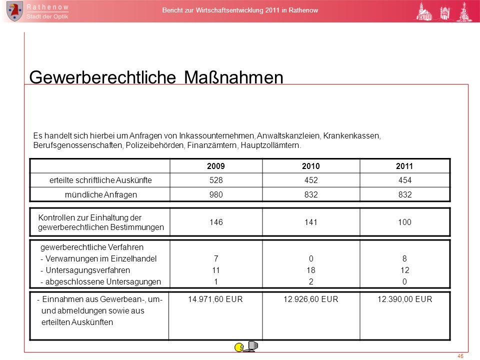 45 Bericht zur Wirtschaftsentwicklung 2011 in Rathenow Es handelt sich hierbei um Anfragen von Inkassounternehmen, Anwaltskanzleien, Krankenkassen, Be