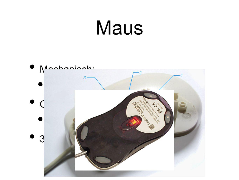 Maus Mechanisch: Mit Ball und Achsen Optisch: Mit Lichtquelle und Reflexionen 3 Tasten + Scrollfunktion