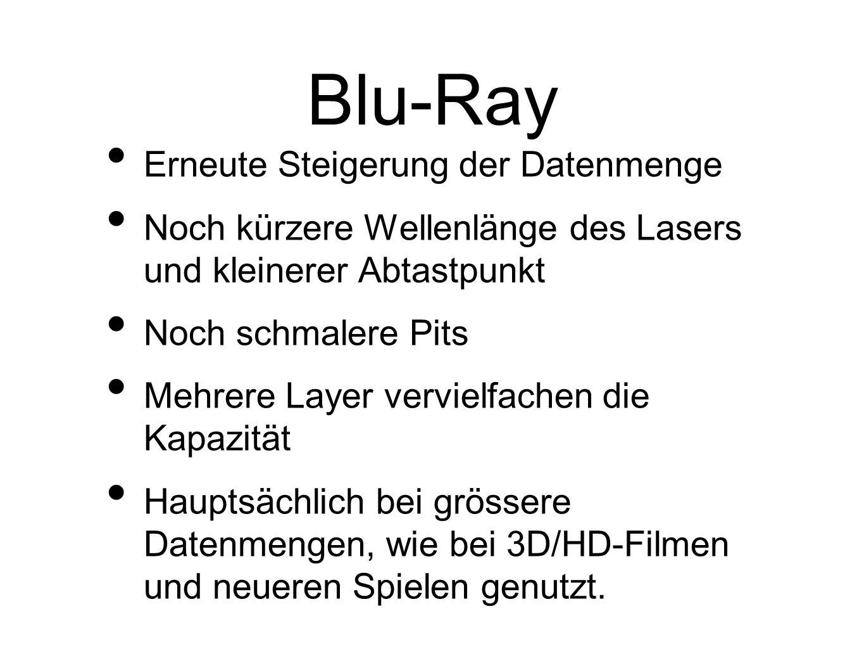 Blu-Ray Erneute Steigerung der Datenmenge Noch kürzere Wellenlänge des Lasers und kleinerer Abtastpunkt Noch schmalere Pits Mehrere Layer vervielfachen die Kapazität Hauptsächlich bei grössere Datenmengen, wie bei 3D/HD-Filmen und neueren Spielen genutzt.