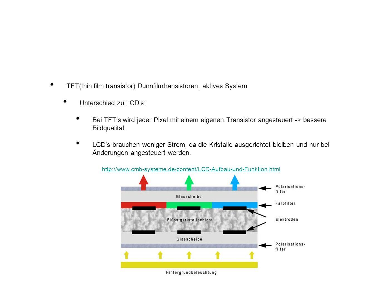 TFT(thin film transistor) Dünnfilmtransistoren, aktives System Unterschied zu LCDs: Bei TFTs wird jeder Pixel mit einem eigenen Transistor angesteuert -> bessere Bildqualität.