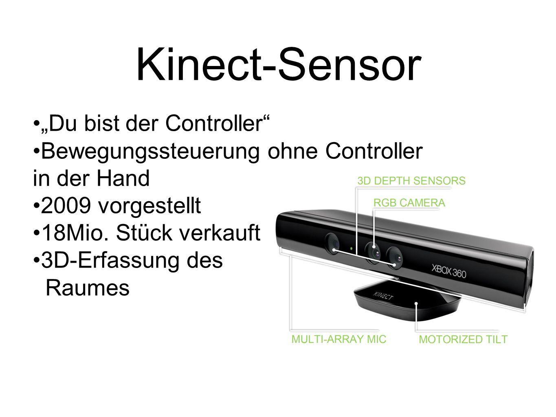 Kinect-Sensor Du bist der Controller Bewegungssteuerung ohne Controller in der Hand 2009 vorgestellt 18Mio. Stück verkauft 3D-Erfassung des Raumes