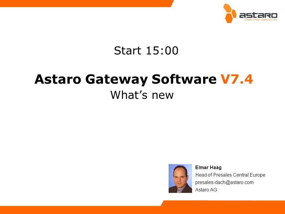 Astaro Overview – Page 12© Astaro 2008Astaro Security Gateway V7.4 Launch Briefing – Page 12 Neue Features Anonymisierung von Reports verbirgt Nutzer- namen und Adressen in Web- und Email-Reports de-Anonymisierung über 4-Augen-Prin- zip (2 Passwörter) adressiert Regelungen zum Schutz privater Daten