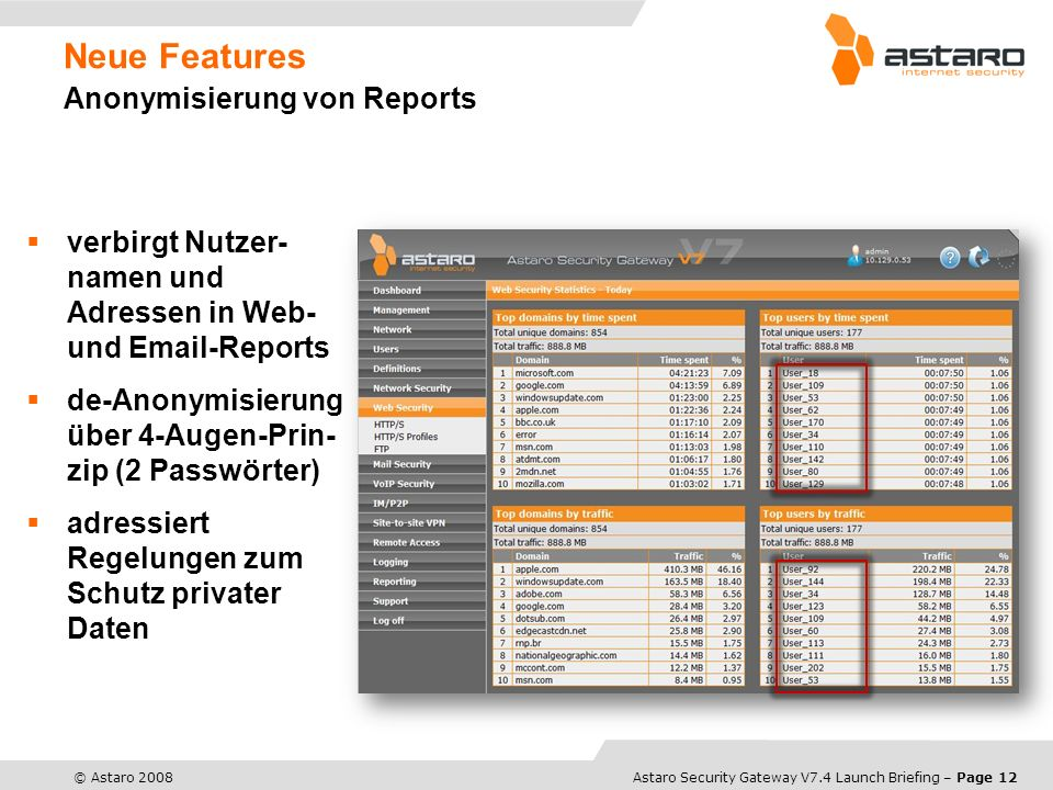 Astaro Overview – Page 12© Astaro 2008Astaro Security Gateway V7.4 Launch Briefing – Page 12 Neue Features Anonymisierung von Reports verbirgt Nutzer-