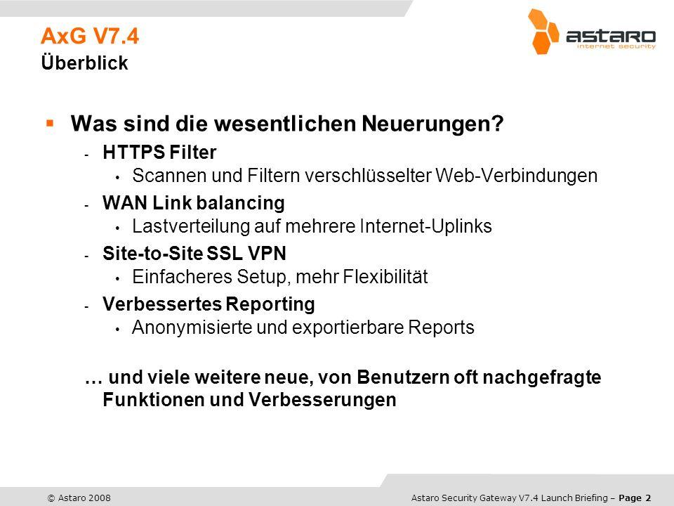 Astaro Overview – Page 3© Astaro 2008Astaro Security Gateway V7.4 Launch Briefing – Page 3 Neue Features HTTPS Filter filtert verschlüsselte Web-Daten (HTTPS) blockiert die Nutzung von Programmen, die bisher per HTTPS den Proxy Filter umgehen konnten umfassendes CA- Management granulare Ausnahmeregeln