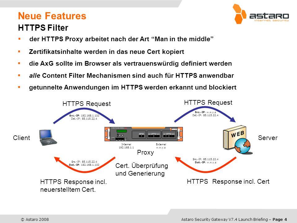 Astaro Overview – Page 5© Astaro 2008Astaro Security Gateway V7.4 Launch Briefing – Page 5 Neue Features WAN Link Balancing balancing von bis zu acht Internet- Verbindungen zwei Modi: Failover Multipath (balancing + failover) einfache Priorisierung konfigurierbare Verbindungsüber- wachung