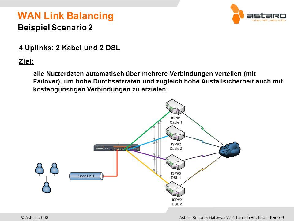 Astaro Overview – Page 10© Astaro 2008Astaro Security Gateway V7.4 Launch Briefing – Page 10 Neue Features Site-to-Site SSL VPN robustes VPN über SSL zwischen zwei ASGs einfaches Client/Server Setup bietet dieselben Möglichkeiten wie IPsec Tunnel bei der Server- konfiguration wird das Clientpaket automatisch erstellt