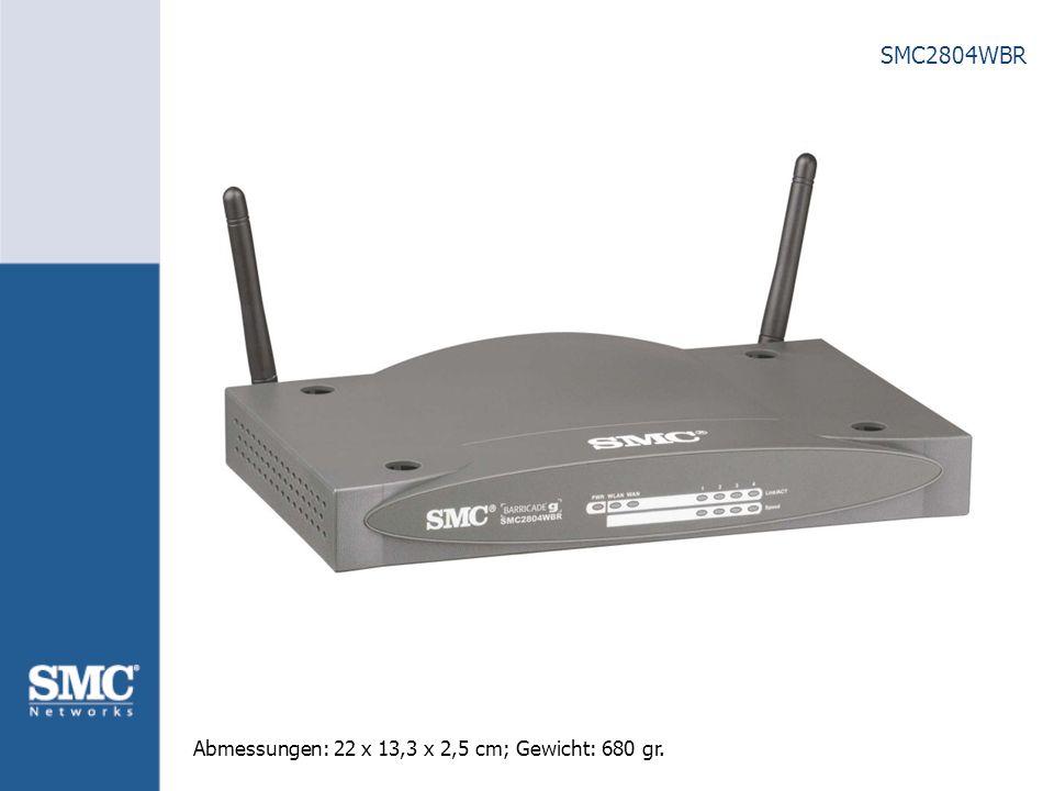 SMC2804WBR Leistungsmerkmale Gleichzeitiger Internetzugang für bis zu 253 PCs Kompatibel zu IEEE 802.11g-Draft und 802.11b 1x 10/100 Mbit/s WAN-Port zum Anschluss eines externen xDSL-/ Kabelmodems 4-Port 10/100 Mbit/s Auto-MDIX Switch Erlaubt im Funk-LAN Datenraten von bis zu 54 Mbit/s mit automatischem Fallback auf 1,2, 5.5, 6, 9, 11, 12, 18, 24, 36, 48 Mbit/s DHCP Server zur automatischen Vergabe von LAN IP- Adressen NAT/ SPI Firewall, Intrusion Detection System (IDS), MAC Address Filtering 64-bit and 128-bit WEP Verschlüsselung,Wi-Fi Protected Access (WPA)*, 802.1x* Authentifizierung VPN Passthrough (IPSec, L2TP, PPTP) IP Routing und Port Forwarding über Virtual Server * per Firmware Upgrade