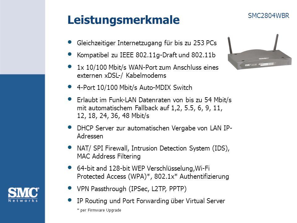 SMC2804WBR Vorteile Netzwerk-Gesamtlösung mit Switch, Access Point, Breitband Router und Firewall Einfache Plug-and-Play Installation über den mitgelieferten One-click EZ Installations Wizard Grafische Benutzeroberfläche zur Konfiguration und zum Update des Routers für alle Betriebssysteme die TCP/IP unterstützen 2 abnehmbare Antennen (Reverse-SMA Anschluss); erlaubt den Anschluss von Antennen mit höherem Antennengewinn und/ oder gerichteten Antennen URL-Blocking ermöglicht die Sperrung von Internetseiten basierend auf URL/ Schlüsselwort Zugriffskontrolle auf IP- und MAC-Address Ebene Hacker-Attack-Logging mit E-Mail-Benachrichtigung SSID Broadcast im Funk-LAN kann abgeschaltet werden Gratis DDNS support, Zone Alarm