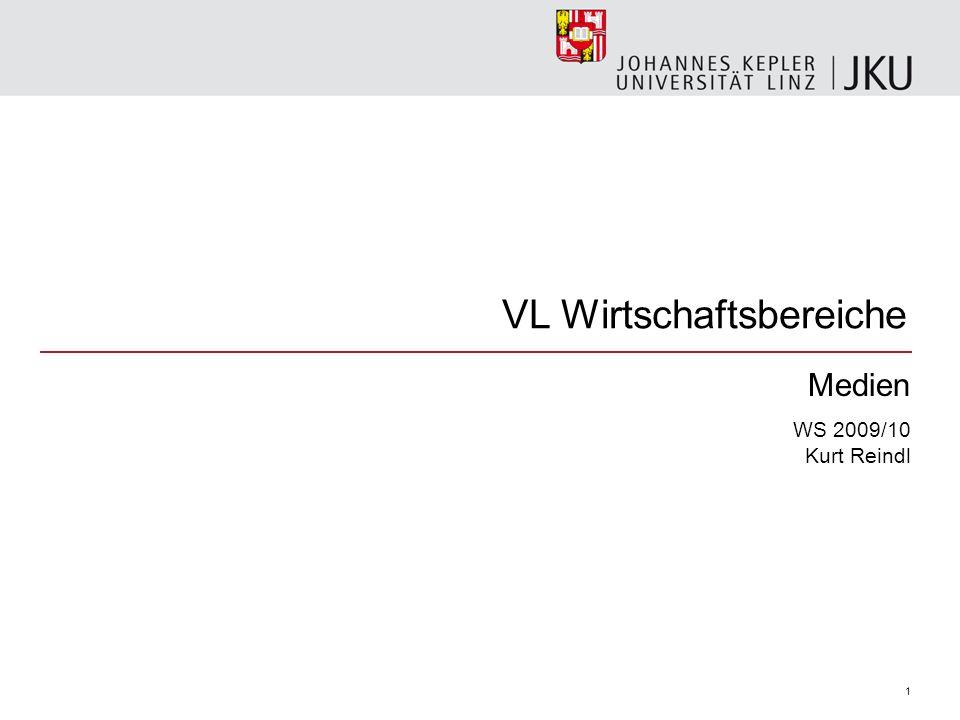 VL Wirtschaftsbereiche Medien WS 2009/10 Kurt Reindl 1