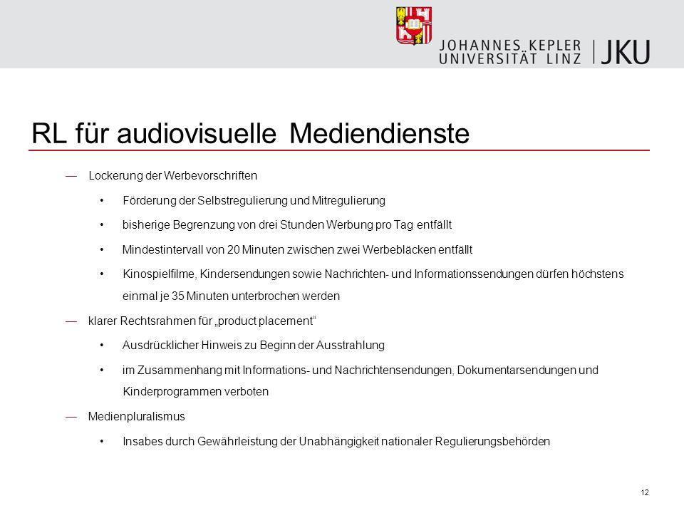 12 RL für audiovisuelle Mediendienste Lockerung der Werbevorschriften Förderung der Selbstregulierung und Mitregulierung bisherige Begrenzung von drei