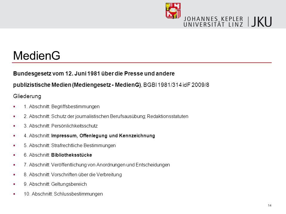 14 MedienG Bundesgesetz vom 12.