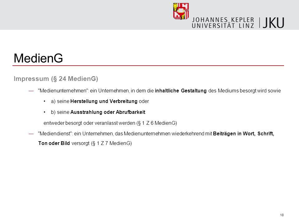 18 MedienG Impressum (§ 24 MedienG)