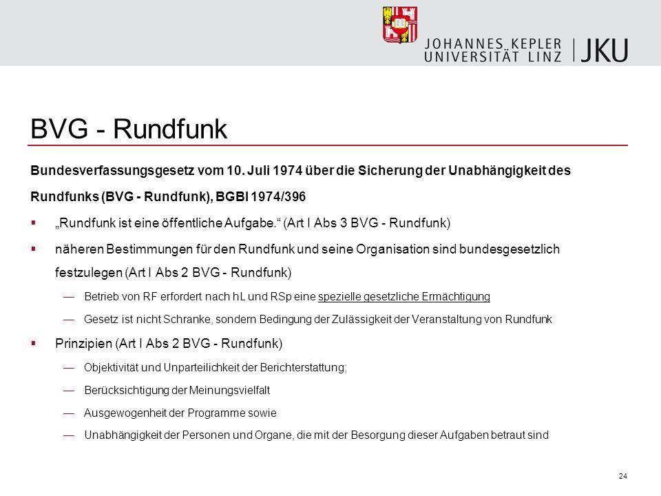 24 BVG - Rundfunk Bundesverfassungsgesetz vom 10. Juli 1974 über die Sicherung der Unabhängigkeit des Rundfunks (BVG - Rundfunk), BGBl 1974/396 Rundfu