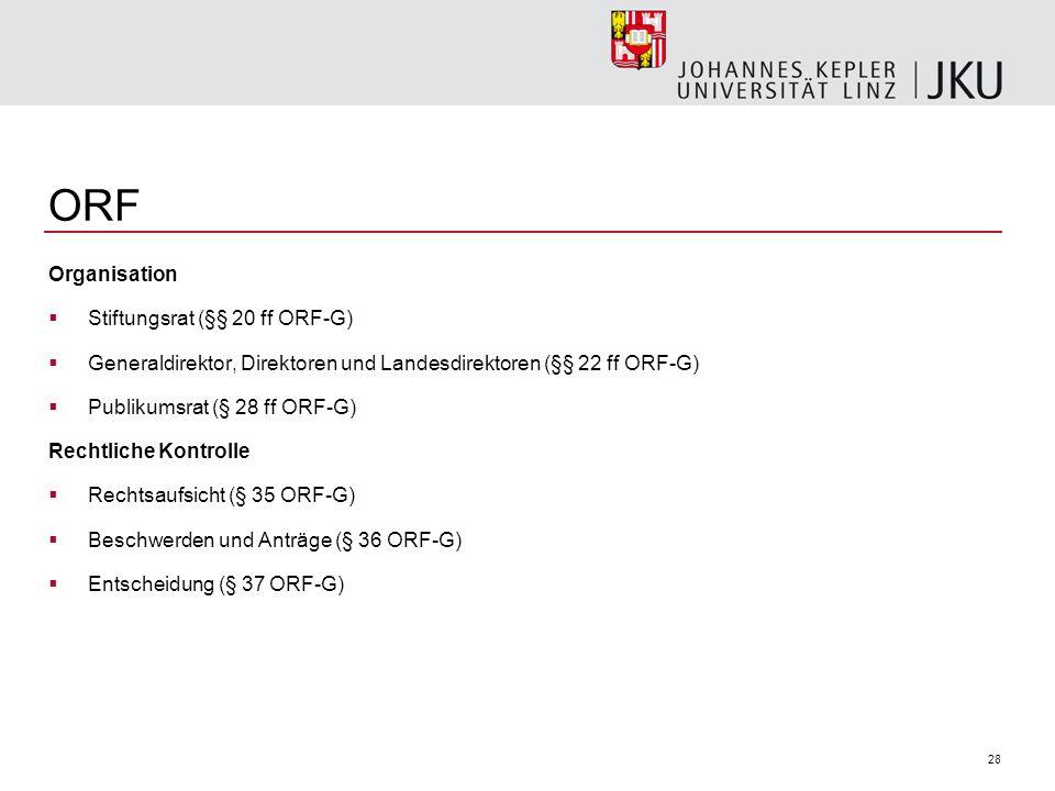 28 ORF Organisation Stiftungsrat (§§ 20 ff ORF-G) Generaldirektor, Direktoren und Landesdirektoren (§§ 22 ff ORF-G) Publikumsrat (§ 28 ff ORF-G) Recht