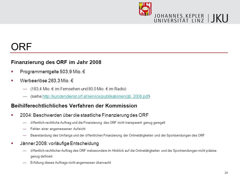 29 ORF Finanzierung des ORF im Jahr 2008 Programmentgelte 503,9 Mio. Werbeerlöse 263,3 Mio. (183,4 Mio. im Fernsehen und 80,0 Mio. im Radio) (siehe ht