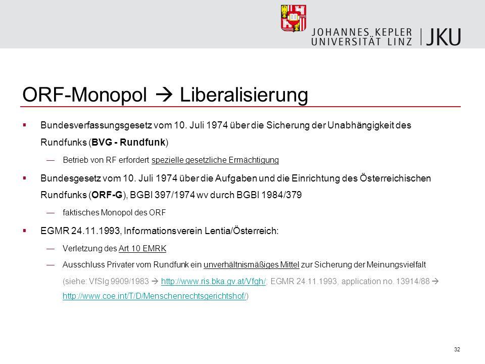 32 ORF-Monopol Liberalisierung Bundesverfassungsgesetz vom 10. Juli 1974 über die Sicherung der Unabhängigkeit des Rundfunks (BVG - Rundfunk) Betrieb