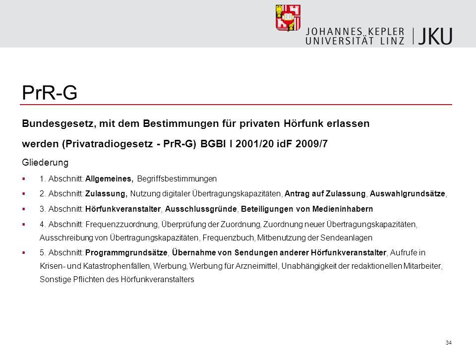 34 PrR-G Bundesgesetz, mit dem Bestimmungen für privaten Hörfunk erlassen werden (Privatradiogesetz - PrR-G) BGBl I 2001/20 idF 2009/7 Gliederung 1. A