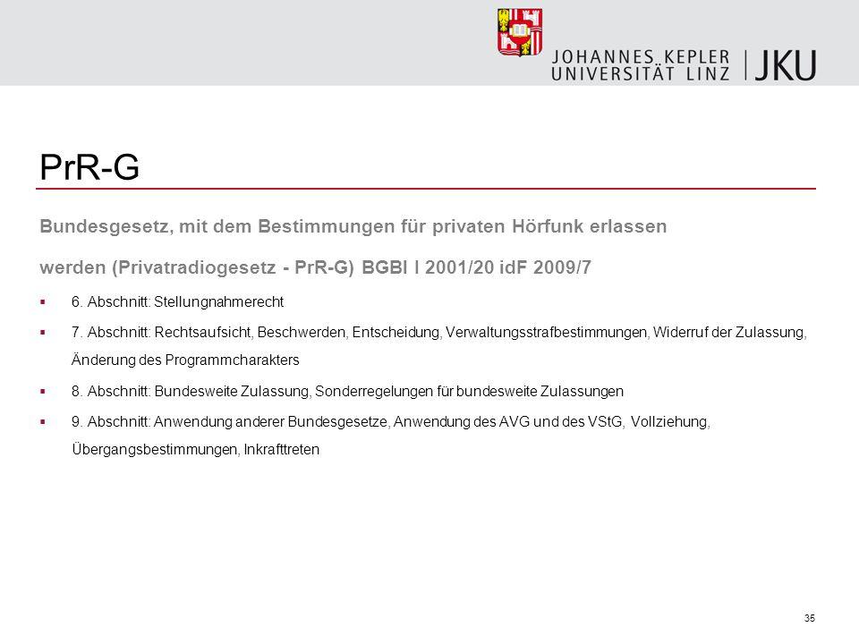 35 PrR-G Bundesgesetz, mit dem Bestimmungen für privaten Hörfunk erlassen werden (Privatradiogesetz - PrR-G) BGBl I 2001/20 idF 2009/7 6. Abschnitt: S