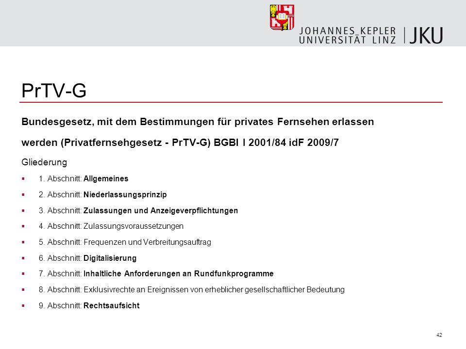 42 PrTV-G Bundesgesetz, mit dem Bestimmungen für privates Fernsehen erlassen werden (Privatfernsehgesetz - PrTV-G) BGBl I 2001/84 idF 2009/7 Gliederun